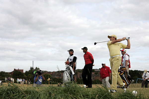"""Sergio Garcia                       2006 British Open, Royal Liverpool Golf Club                       Started: One behind Woods                       Finished: Tied for fifth                       after a 73                       Woods' score: 67                       Key stat: After firing a                       front-nine 29 on Saturday,                       Garcia played the same holes                       in 39 strokes on Sunday.                       Where it all went                       wrong: Garcia missed two                       short par putts in the first                       three holes.                       Telling comment: """"I can't                       even count how many good                       putts I hit that didn't go in,""""                       Garcia said."""