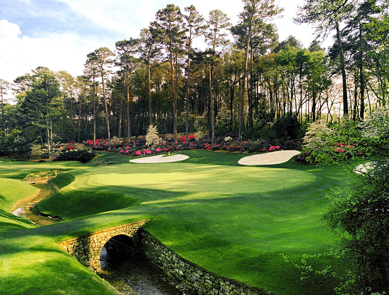 4. Augusta National Golf Club -- No. 13: Par 5, 510 yards -- Augusta, Ga.                     Perhaps the world's most beautiful inland hole, this is also one of its most strategic, capitulating perfectly to co-designer Bobby Jones' fondness for the par 4 and a half hole. It is easily reachable in two by any self-respecting low-handicapper, that is, if distance alone were the sole criterion. Instead, the tee shot must curve hard right-to-left to avoid running through the fairway onto pine straw.  Most players who find the short grass still face a lengthy shot from a tight, sidehill lie, over a tributary of Rae's Creek. The four bunkers beyond the green serve as little more than eye candy, but they complete a picture that's as sweet as they come.