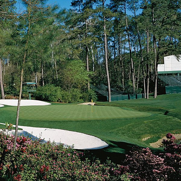 Good look                       You've seen photos of the 13th green from this angle alongside the left of the                       hole before, but unless you're a player or caddie you'll never get this close                       to it. In fact, once the ropes go up the closest you'll get to any green around Amen Corner is the opposite side of the gallery.