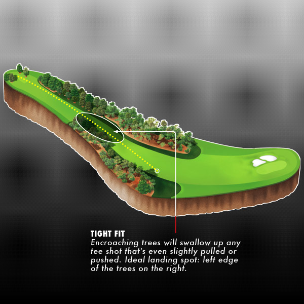 "No. 9                     Carolina Cherry                     Par-4, 460 yards                                          The More Distance, The Better                     By Ben Curtis                                          ""It's tight right out of the chute. If you pull it a hair you can clip the trees on the left, and if you push it a hair you can clip the trees on the right. It's one of those drives where you used to try to draw it, but now it's almost better to aim down the left and hit a fade because you can't hit it way down there anymore. And you're better off being in the right trees than the left trees.                                          It used to be a driver and a wedge, but it's not anymore. I've never played with anyone who has hit less than driver there. When it's firm maybe Tiger could hit that stinger three-wood, but it's one of those holes where the more distance off the tee, the better.                                          It's easier for me to hit a cut than a draw, but it all depends on my swing that day and how I'm feeling. Ideally, you'd hit it dead straight, but it's probably about a five-yard fade for me. From that tee I'm simply trying to keep it on the left edge of the right trees."""