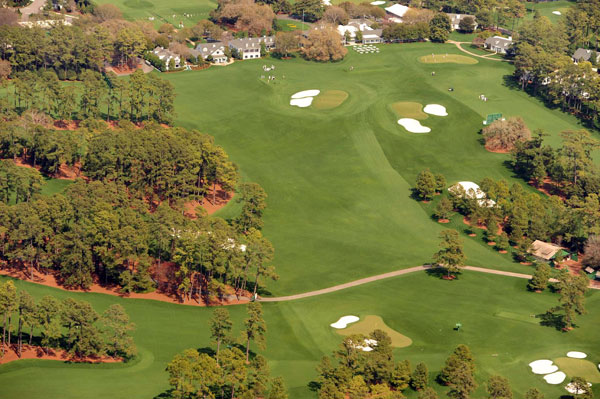No. 9 (top left)                     Carolina Cherry                     Par 4                     460 yards                                          Top Right: No. 18 green                     Bottom Left: No. 2 green                     Bottom Right: No. 7 green