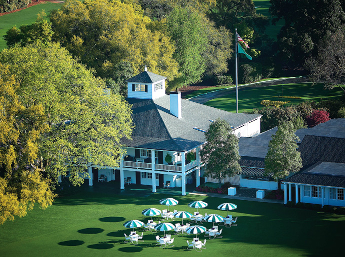 Augusta National Golf Club -- Augusta, Ga.                     The iconic image of the clubhouse is the original plantation house built in 1857. Remarkably, the building was already more than 70 years old when Bobby Jones selected the site and Alister MacKenzie planned the starting and finishing holes of the course to adjoin the plantation house, now the clubhouse.
