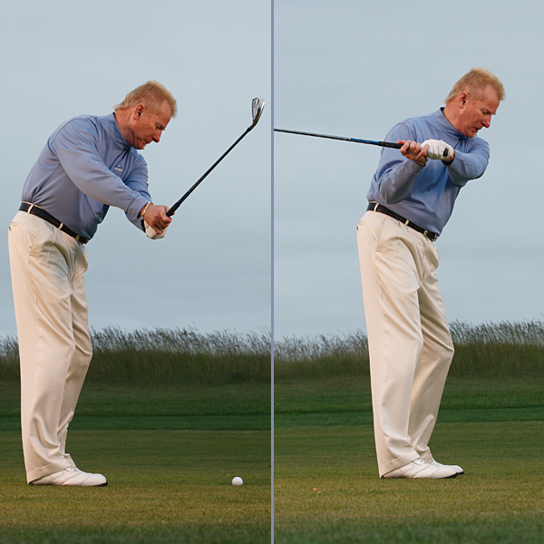 Left: Steep Swing/Slice — Outside takeaway                       Club moves off plane and in front of your body.                                              Right: Slice — Fanned clubface                       Hands over-rotate and open the clubface.