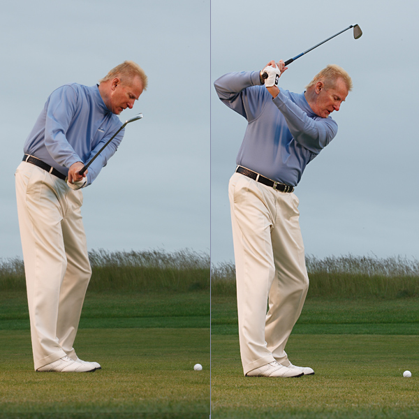 Left: Hook — Shut clubface                     Hands don't rotate and keep the clubface closed.                                          Right: Steep Swing/Pull-Slice — Across the line                     Shaft points way right of the target.
