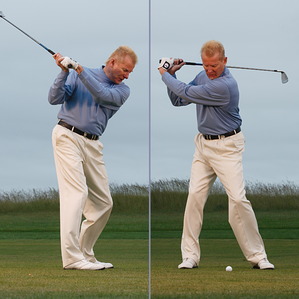 Left: Flat Swing/Hook/Push — Laid off                     Shaft points way left of target.                                          Right: Early Release — Over-hinged                     Wrists break down at the top.