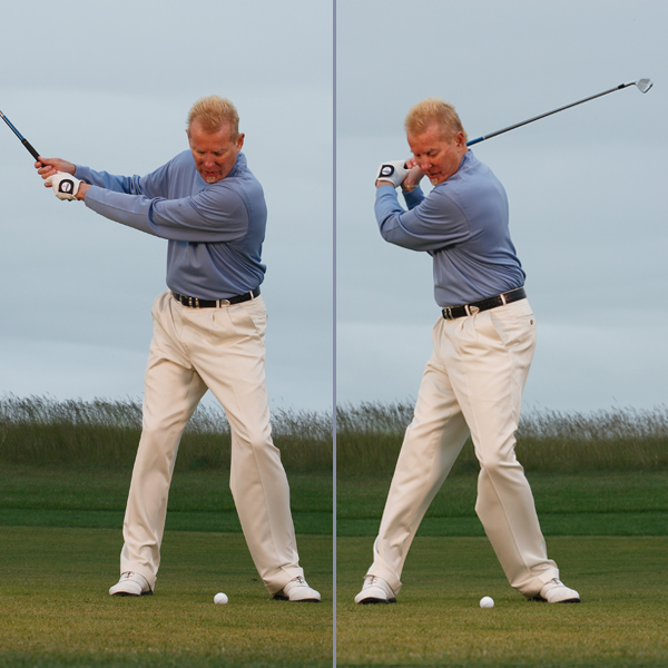 Left: Late Release — Under-hinged                     Wrists hinge too late.                                          Right: No Power — Turning/No coil                     Upper and lower body turn the same amount.