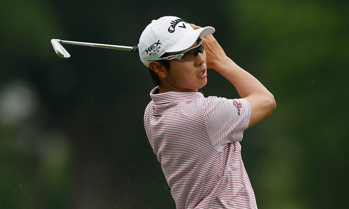 Sang-Moon Bae is right on the cutline with two holes left.