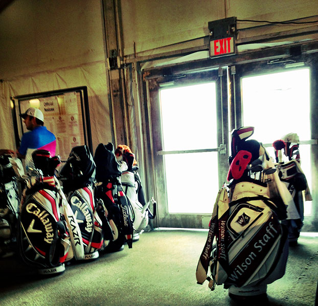 Inside the caddie tent during a weather delay on Wednesday.