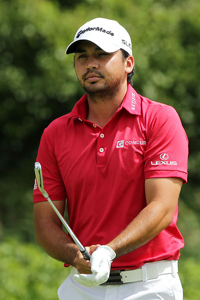 Jason Day plays his shot from the fifth tee during the third round of The Barclays at The Ridgewood Country Club on August 23, 2014 in Paramus