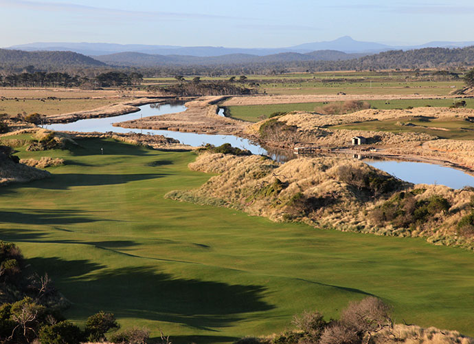 23. Barnbougle Lost Farm, Bridport, Australia: Ranked 72 in the world, the companion to Barnbougle Dunes yields a Bill Coore/Ben Crenshaw design that differs from its Tasmanian sibling in that its huge dunes run both parallel and perpendicular to the ocean, so holes play up and over the dunes, as well as between them.