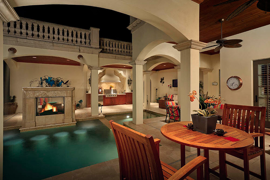 One of the best features of the home is a resort-style indoor spa and gym.