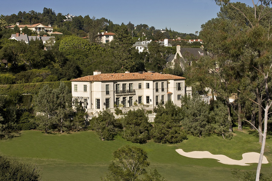 Overlooking Bel-Air Country Club, this 20,000-square-foot Mediterranean villa is listed at $44 million.