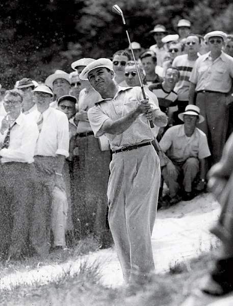 Ben Hogan, 1950 U.S. Open at Merion                     Just 16 months after a nearly fatal accident, in which his car collided head-on with a bus, Ben Hogan was back. Playing with his legs heavily wrapped, Hogan stripped the most famous one-iron in history to set up a two-putt par at 18 in regulation; then he won an 18-hole playoff against George Fazio and Lloyd Mangrum, helped along when Mangrum picked up his ball on the 16th hole to blow a bug off it, for which he was assessed a two-shot penalty.