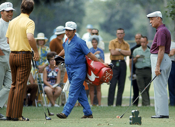 Ben Hogan smokes a cigarette on the tee during the 1970 Champions International Tournament at the Champions Golf Club in Houston. He tied for ninth at +3, five behind winner Gibby Gilbert. Hogan's last round on the PGA Tour came about a year later on the same course.