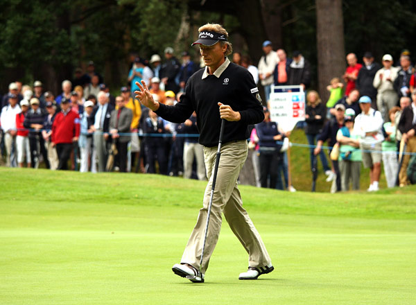 Bernhard Langer, here on the first hole on Friday, has four wins on the Champions Tour this season and is first on the money list.