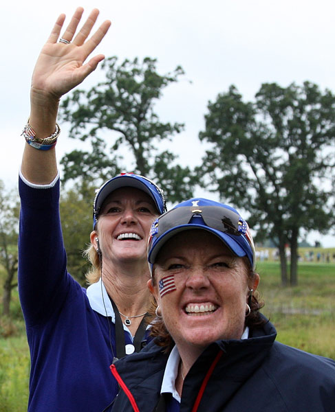 Team USA captain Beth Daniel (back) and assitant captain Meg Mallon (front) are drawing on years of experience playing in the Solheim Cup to help them coach this year's team to victory.