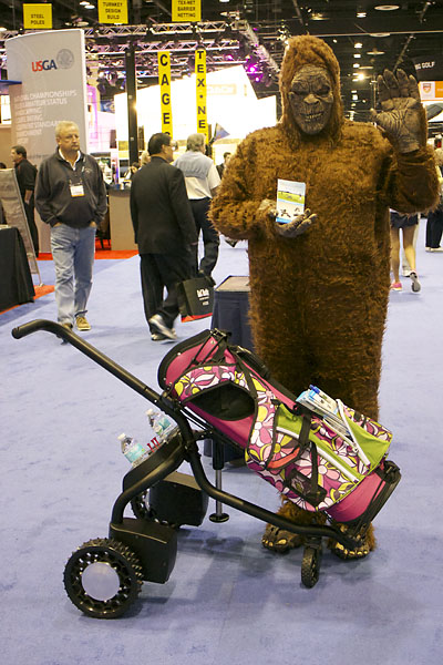 The Big Foot cart is a self-propelled, hands-free caddy cart. Sasquatch not included. For more information, visit CaddyTrek.com.