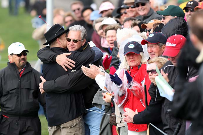 Bill Murray plants a kiss on the cheek of a fan for Valentine's Day on the ninth hole of the Pebble Beach Golf Links during the third round of the 2009 AT&T Pebble Beach National Pro-Am..