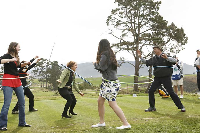 Bill Murray joins a group of hula-hoopers at the 2007 AT&T Pebble Beach National Pro-Am at Pebble Beach Golf Links.