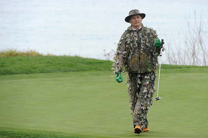 Bill Murray brings a new look to golf style at the 2012 AT&T Pebble Beach National Pro-Am: the ghille suit.