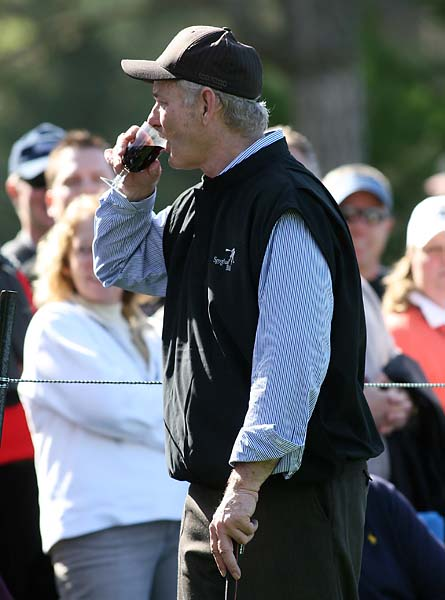 Bill Murray sneaks a sip of a fans wine during the second round of the 2010 AT&T Pebble Beach National Pro-Am