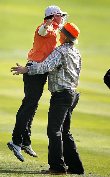 Steve Williams and Tiger Woods don't have a monopoly on awkward golf celebrations. Here's D.A. Points and Bill Murray failing to execute a chest bump after Points made eagle on the 14th hole in the final round of the 2011 AT&T Pebble Beach National Pro-Am.