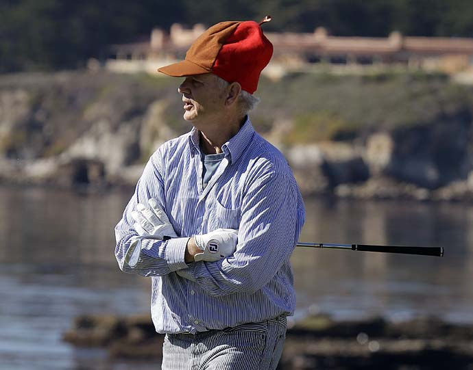 Bill Murray watches play on the fourth green of the Pebble Beach Golf Links during the third round of the 2011 Pebble Beach National Pro-Am.