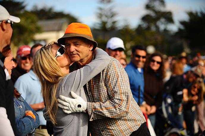 Bill Murray hugs a spectator at the 2011 AT&T Pebble Beach National Pro-Am.