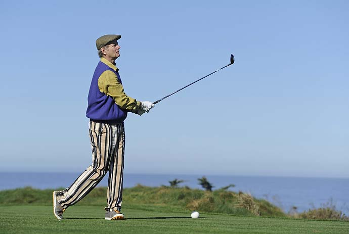 Bill Murray tees off on the 4th hole during the first round of the 2012 AT&T Pebble Beach National Pro-Am at Spyglass Hill.