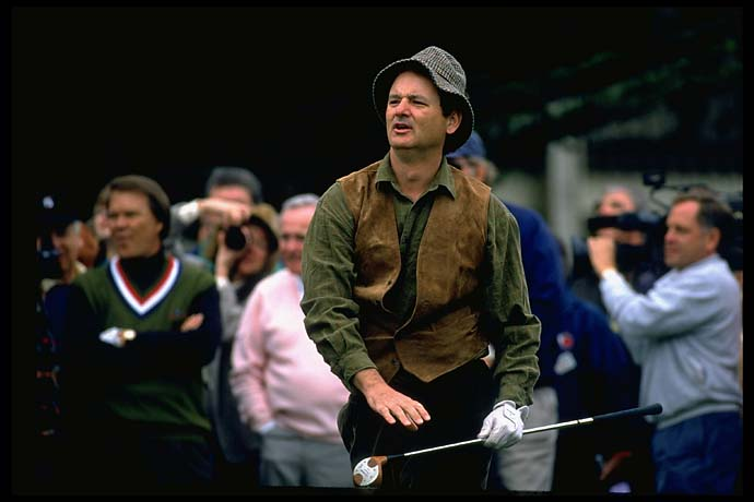 Bill Murray at the Pebble Beach National Pro-Am in February 1994, a year after the release of his hit movie Groundhog Day.