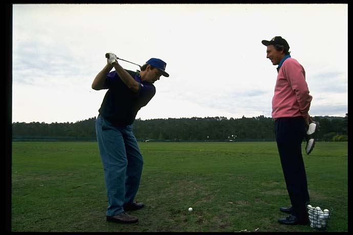Hale Irwin checks out Bill Murray's swing at the 1994 AT&T Pebble Beach Pro-Am.