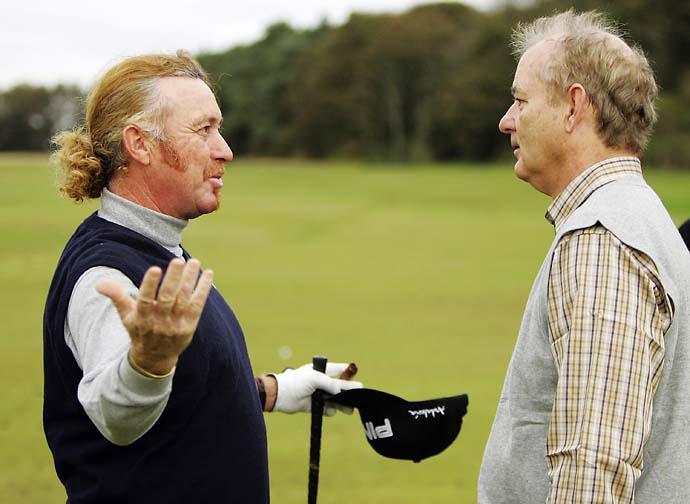 The Most Interesting Man in the World Miguel Angel Jimenez meets his match in Bill Murray at the Alfred Dunhill Links Championship at Kingsbarns Golf Club in October 2006 in Kingsbarns, Scotland.