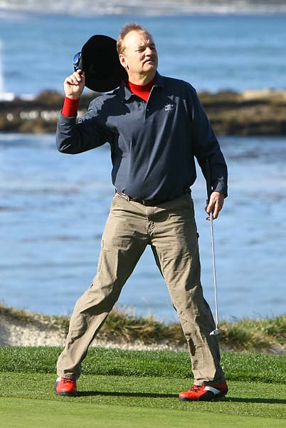 Bill Murray acknowledges the gallery after a putt on the fourth hole during the third round of the 2009 AT&T Pebble Beach National Pro-Am at the Pebble Beach Golf Links.