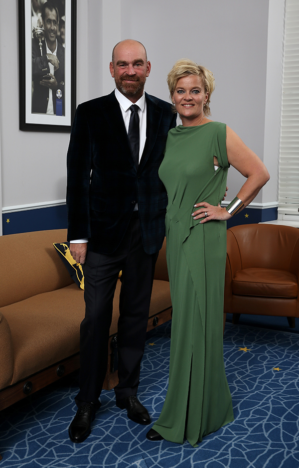 Thomas Bjorn of Europe and his wife Pernilla Bjorn pose for a photograph at the Gleneagles Hotel before leaving for the Ryder Cup Team Gala Dinner.
