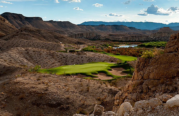 Black Jack's Crossing at Lajitas Golf Resort -- Lajitas                     Big Bend State and National Parks and the Rio Grande River form compelling backdrops to this year-old layout on the Mexican border. Befitting his playing style, architect Lanny Wadkins infused many risk/reward holes into the layout, among the creek-lined, par-4 6th.$90; 432-424-5080, blackjackscrossing.com
