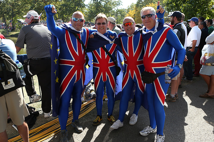 Team Europe fans were not be outdone. These British spectators showed some national pride.