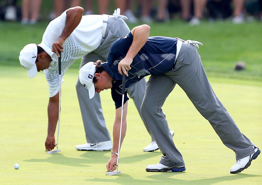 Woods played with Rory McIlroy for the second consecutive day.