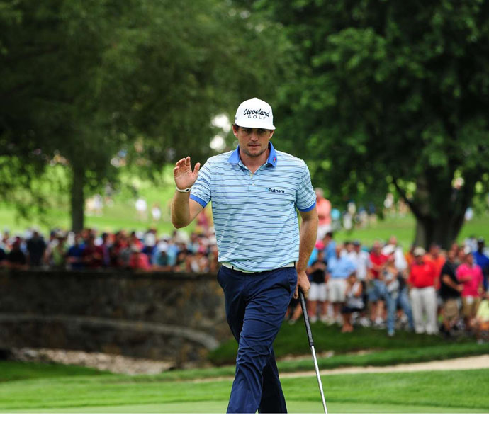 Playing with Woods, Keegan Bradley started slow but recovered to shoot a 69.