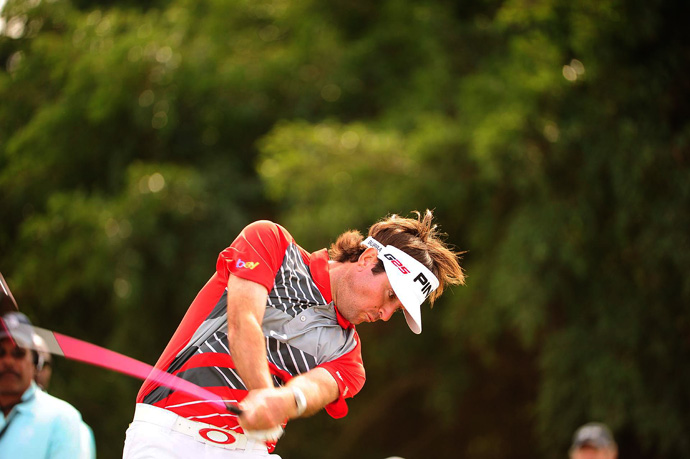 Bubba Watson made five birdies, two bogeys and a double bogey for a 71.
