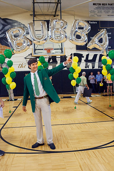 Watson received a hero's welcome in the Milton High gymnasium where he had showed off his basketball talents.