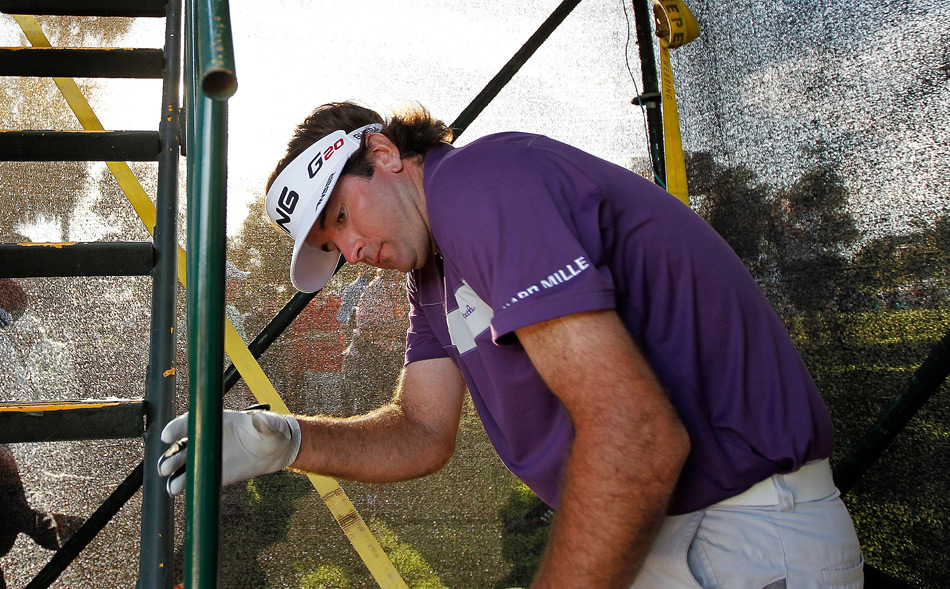 During the third round at Doral, Watson had to climb inside a TV tower to retrieve his ball.