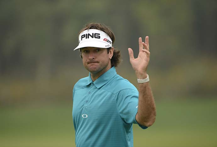 Bubba Watson acknowledges the crowd during round four of the WGC-HSBC Champions at Sheshan International Golf Club.