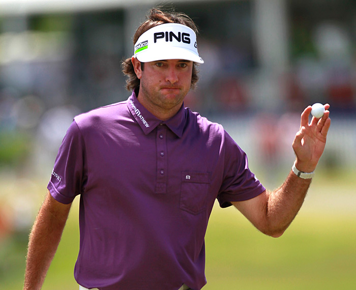 Defending champion Bubba Watson made an eagle, seven birdies and a double bogey for a 65.