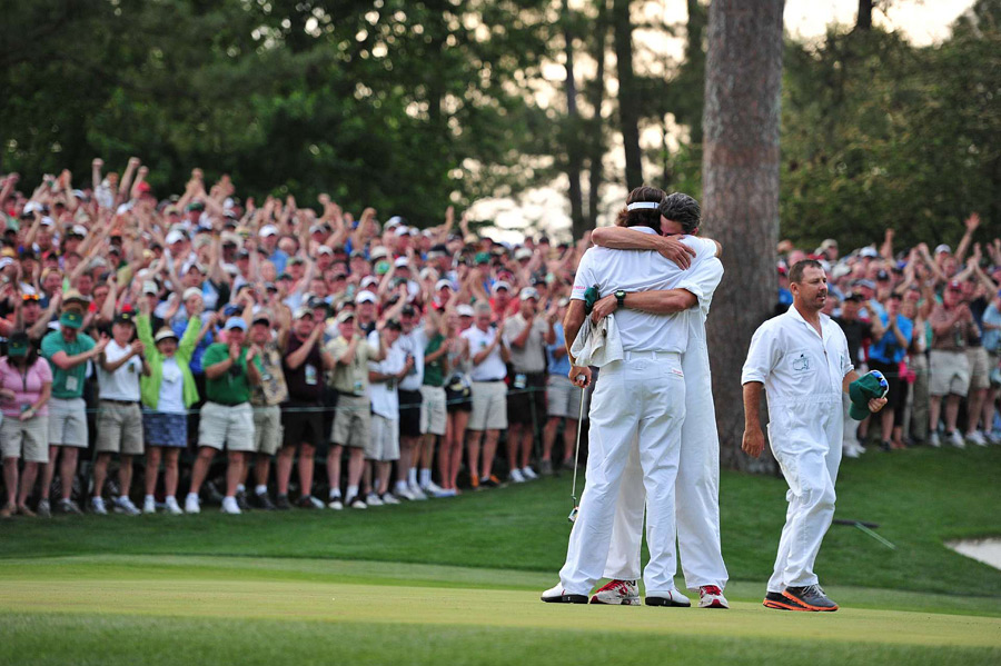 After Oosthuizen made bogey, Watson tapped in for par to win his first major championship.