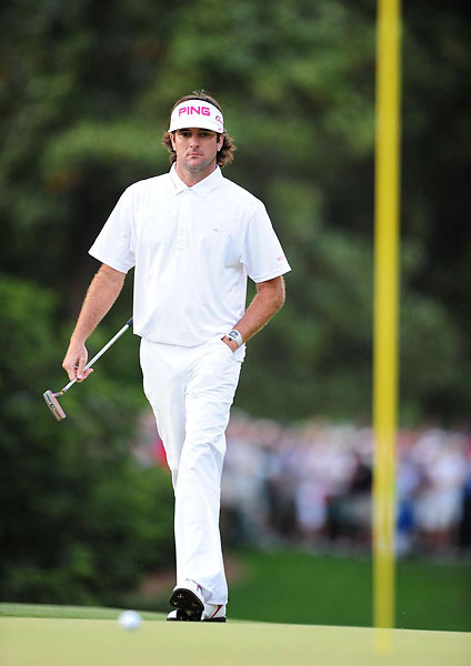 Bubba Gumption                       Masters Champion Bubba Watson wore white clothing with pink diamond detailing and matching belt throughout the tournament, to promote the charity Fresh Start, which provides reconstructive surgery for children. (The shirt and belt can be purchased online at travismathew.com). It turned out pink and green (as in jacket) went very nicely together.