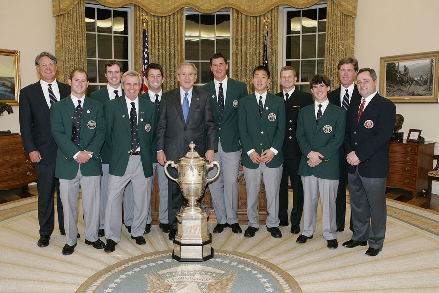 The U.S. Walker Cup team met with Bush in 2006 in the Oval Office. The Walker Cup is named after Bush's great-grandfather, George Herbert Walker.