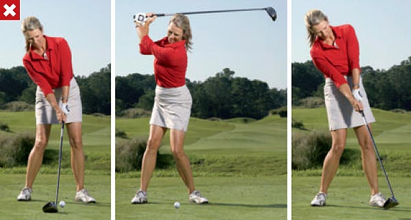 """DON'T DO THIS!                                              Take the tip """"set up behind the ball"""" too literally and you'll create extra side bend at address. This imbalance sets in motion a chain of weight shift and swing errors that result in a slice-causing reverse pivot at the top and too much """"hang back"""" at impact."""