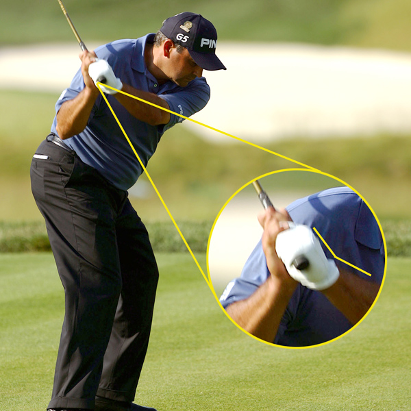 A cup of Hogan, please                                          Cabrera's link to former Oakmont champions takes shape in his left wrist. Notice the slight bend between the back of his left hand and his left forearm. This very Hogan-esque wrist cup keeps his clubface slightly open as he approaches impact, allowing him to release powerfully through impact without fear of hooking the ball left. While most amateurs are able to hit a fade, they don't have the power to back it up. If you want to swing with more power, you need to make sure your support system is in place. Keep both of your knees flexed and your weight in the front of your shoes on your downswing to accommodate extra acceleration.