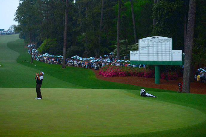 On No. 10, the second playoff hole, Cabrera just missed a birdie putt.