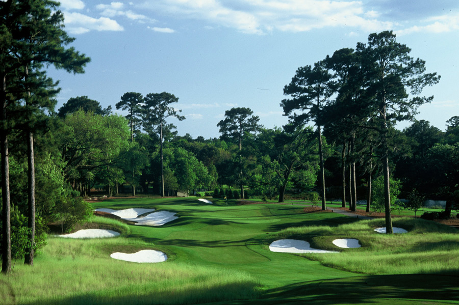 3. Caledonia Golf & Fish Club, Pawleys Island, S.C.; 843-237-3675, fishclub.com                       The late Mike Strantz was an artist with a bulldozer and at Caledonia, he created a layout worthy of a museum exhibit. Gnarled live oaks frame the rippled fairways and the course winds along the Waccamaw River for much of its journey. Caledonia measures just 6,526 yards from the tips, but they're replete with wetlands, vast waste bunkers and contoured greens, which explains the sturdy slope of 140. The superb closer is a 383-yard, par-4 that edges the river and old rice fields, with a green fronted by water and backdropped by the Antebellum-style clubhouse.